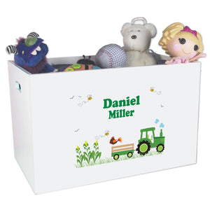 boys personalized green tractor toy box bin