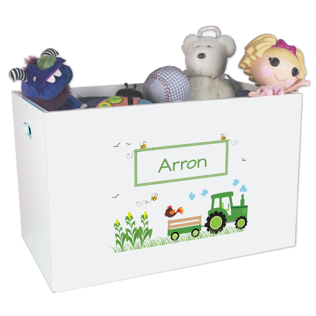 Open White Toy Box Bench with Green Tractor design