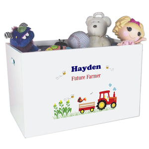 Personalized Red Tractor Toy Box Bin