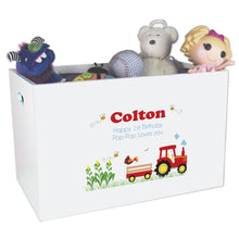 Open Top Toy Box - Red Tractor