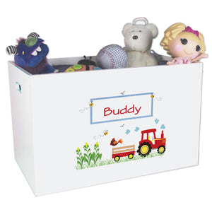 Open White Toy Box Bench with Red Tractor design