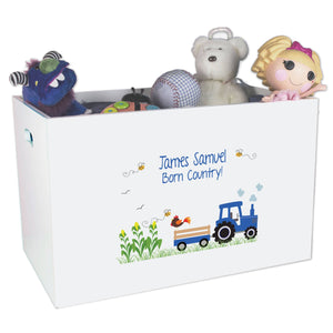 Personalized Blue Tractor Toybox