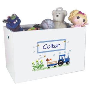 Open White Toy Box Bench with Blue Tractor design