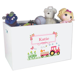 Open White Toy Box Bench with Pink Tractor design