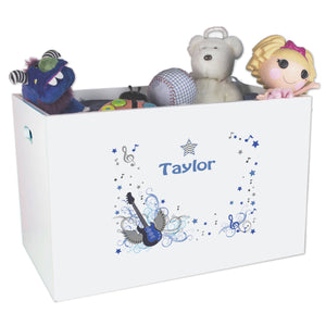 Open White Toy Box Bench with Blue Rock Star design