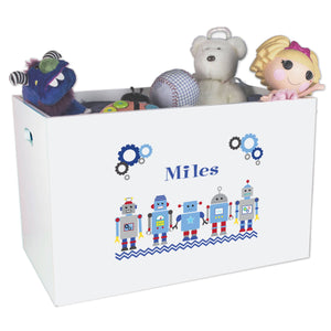 Open White Toy Box Bench with Robot design
