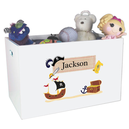 Open White Toy Box Bench with Pirate design