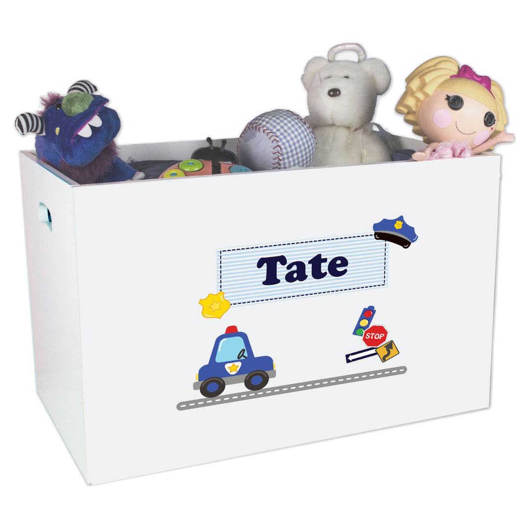 Open White Toy Box Bench with Police design