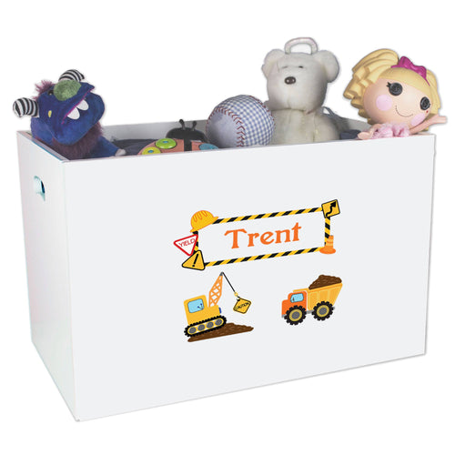 Open White Toy Box Bench with Construction design
