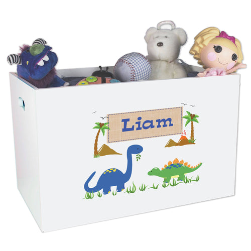 Open White Toy Box Bench with Dinosaurs design