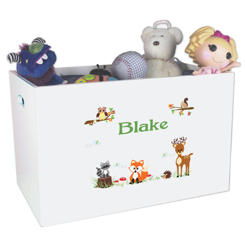 Open White Toy Box Bench with Green Forest Animal design