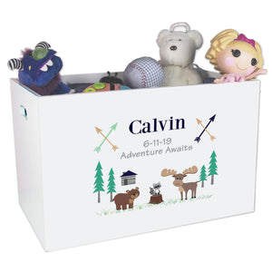 Open Top Toy Box - North Woodland Critters