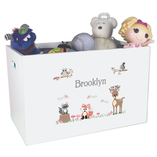 Open White Toy Box Bench with Gray Woodland Critters design