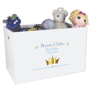 Open Top Toy Box - Prince Crown Blue