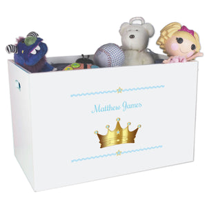 Open White Toy Box Bench with Prince Crown Blue design