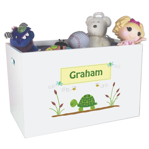 Open White Toy Box Bench with Turtle design