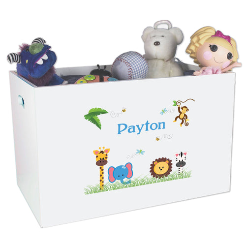Open White Toy Box Bench with Jungle Animals Boy design