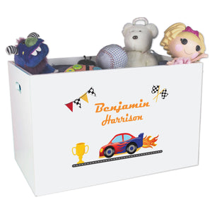 Personalized Race Car Toy Box Bin