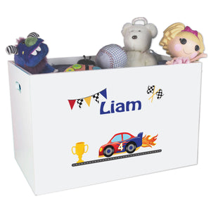 Open White Toy Box Bench with Race Cars design