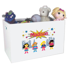 Open White Toy Box Bench with Super Girls design