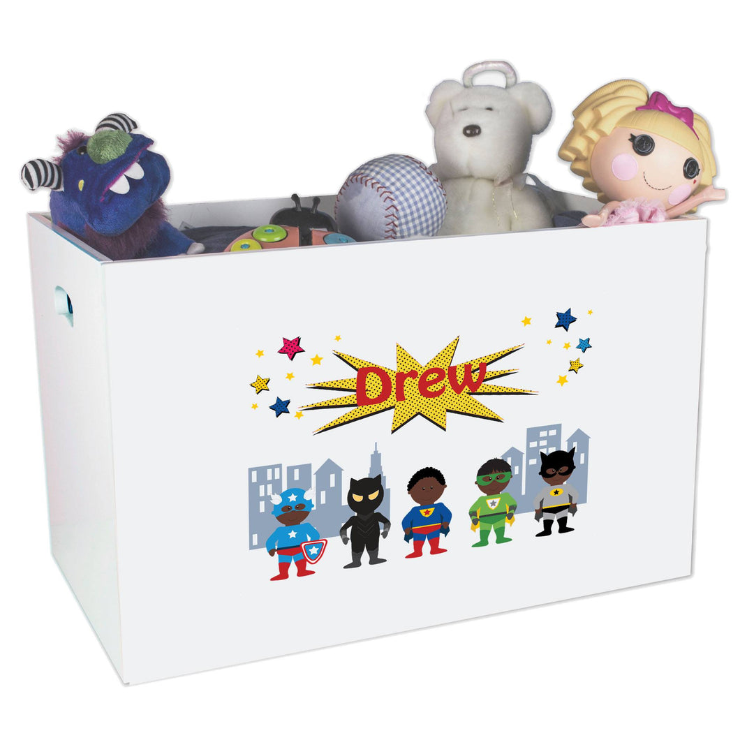 Open White Toy Box Bench with Superhero African American design