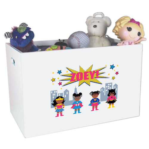 Open White Toy Box Bench with Super Girls African American design