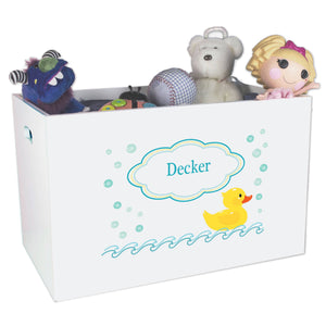 Open White Toy Box Bench with Rubber Ducky design