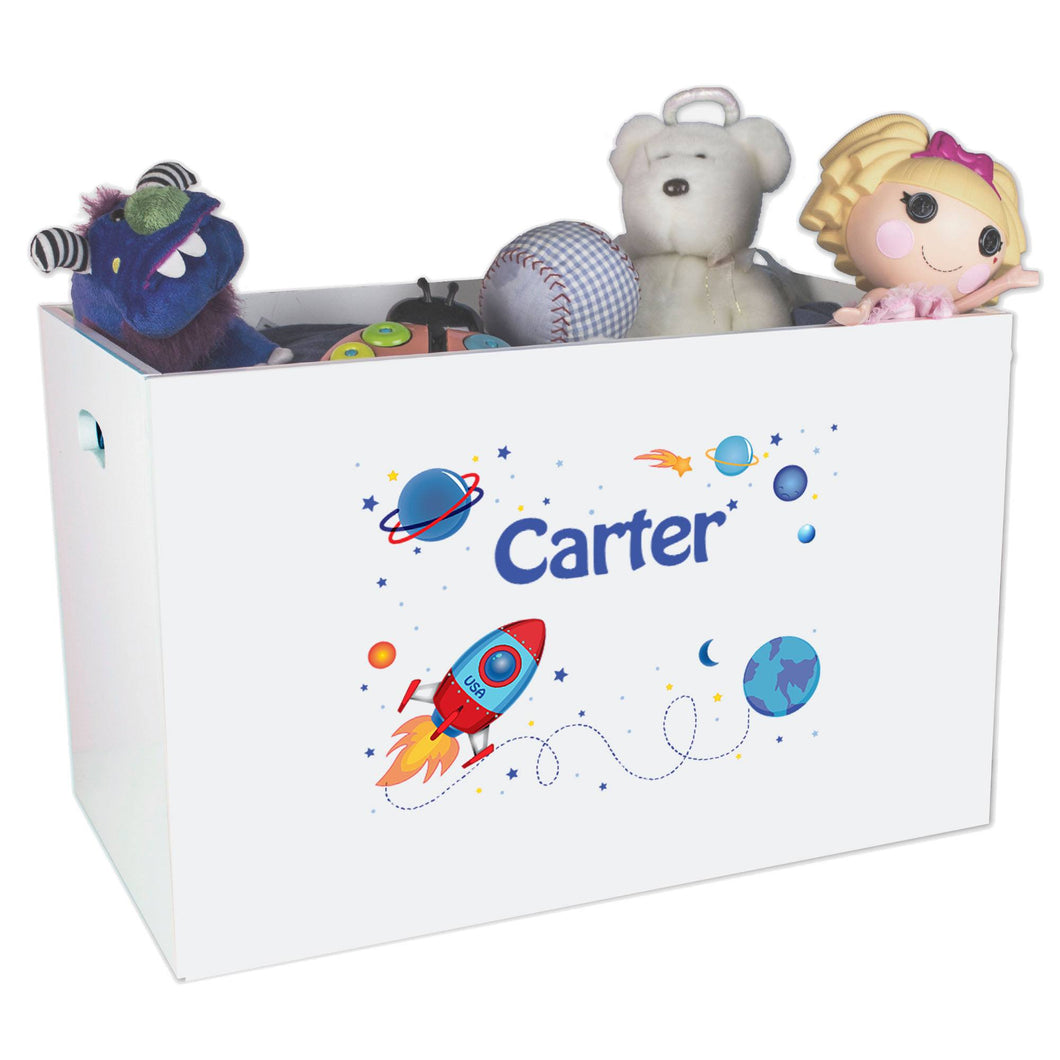 Open White Toy Box Bench with Rocket design