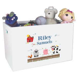 Open White Toy Box Bench with Barnyard Friends design