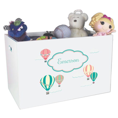 Open White Toy Box Bench with Hot Air Balloon design