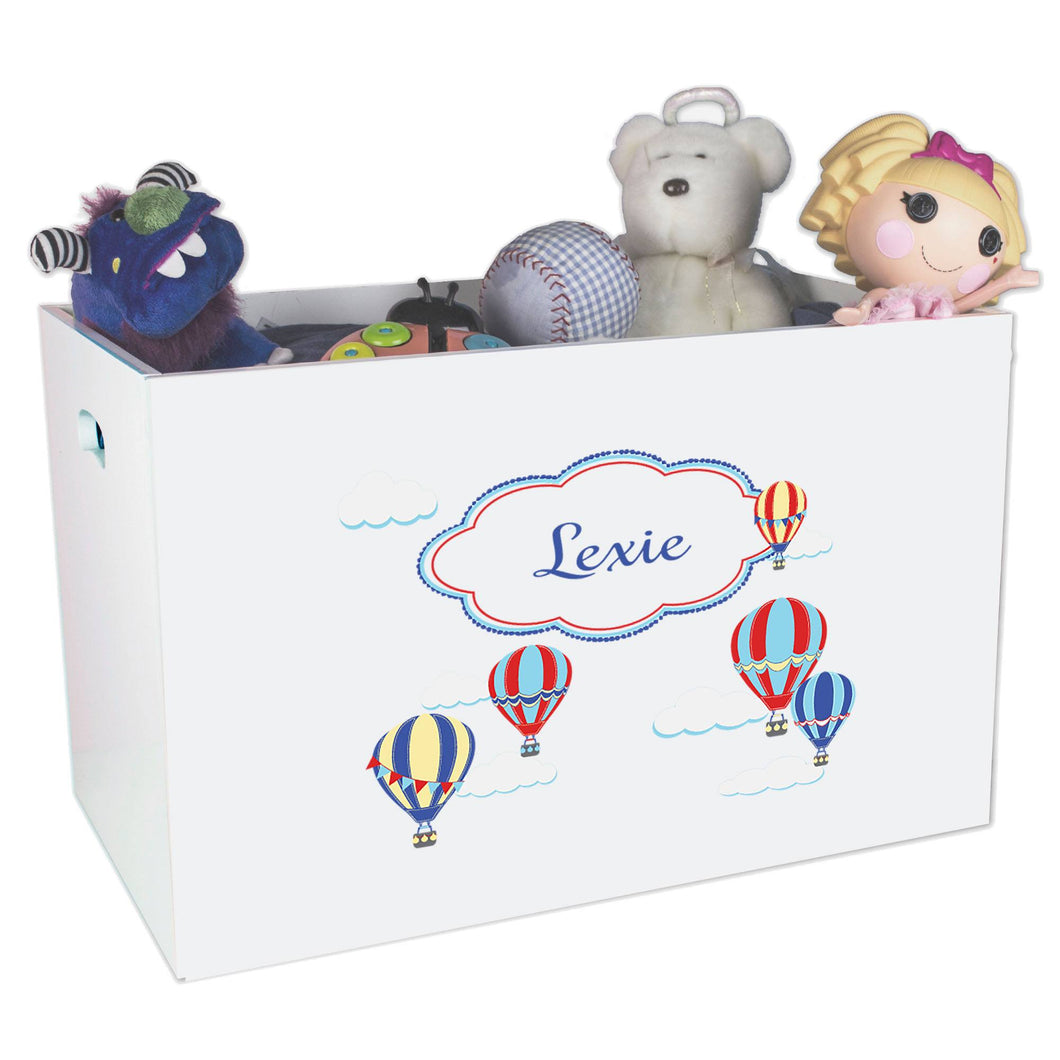 Open White Toy Box Bench with Hot Air Balloon Primary design