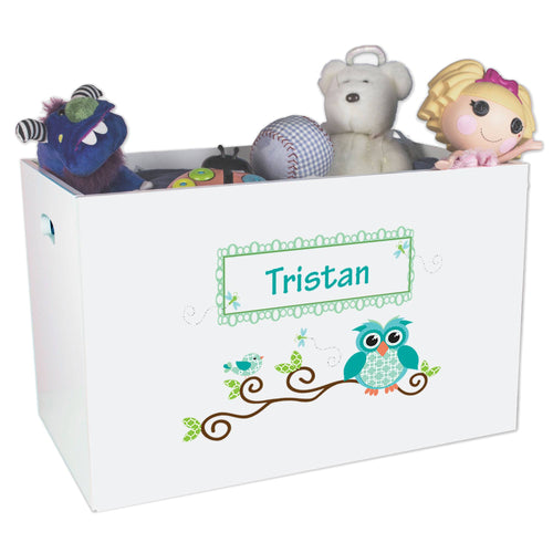 Open White Toy Box Bench with Blue Gingham Owl design