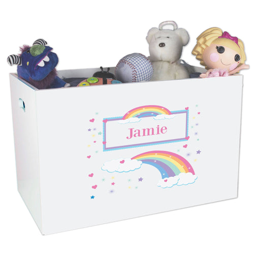 Open White Toy Box Bench with Rainbow Pastel design