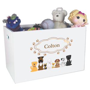 Open White Toy Box Bench with Brown Dogs design