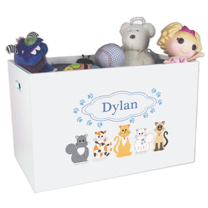 Open White Toy Box Bench with Blue Cats design