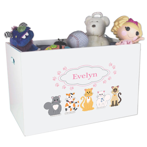 Open White Toy Box Bench with Pink Cats design