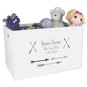 Open Top Toy Box - Arrows Gold and Grey