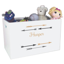 Open White Toy Box Bench with Arrows Gold and Grey design