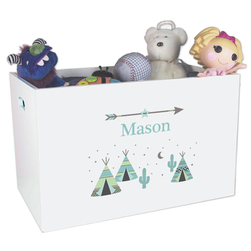 Open White Toy Box Bench with Teepee Aqua Mint design