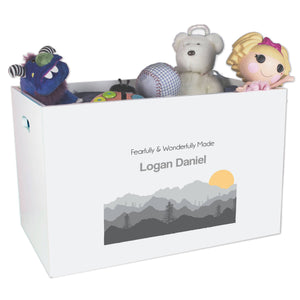 Open White Toy Box Bench with Misty Mountain design