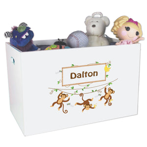 Open White Toy Box Bench with Monkey Boy design