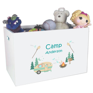 Open White Toy Box Bench with Camp Smores design