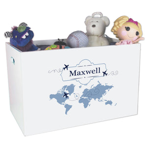Open White Toy Box Bench with World Map Blue design