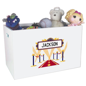 Open White Toy Box Bench with A Star Is Born Blue design