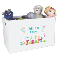 Open White Toy Box Bench with World Travel design
