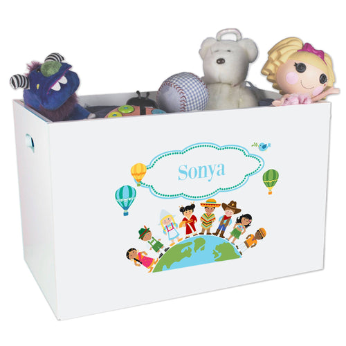 Open White Toy Box Bench with Small World design