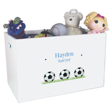 Open White Toy Box Bench with Soccer Balls design