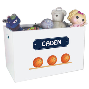 Open White Toy Box Bench with Basketballs design