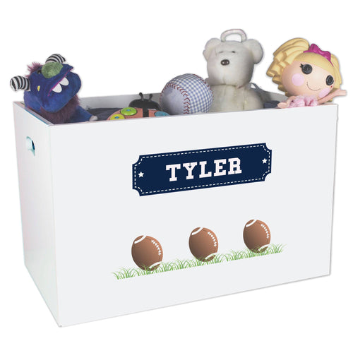 Open White Toy Box Bench with Footballs design
