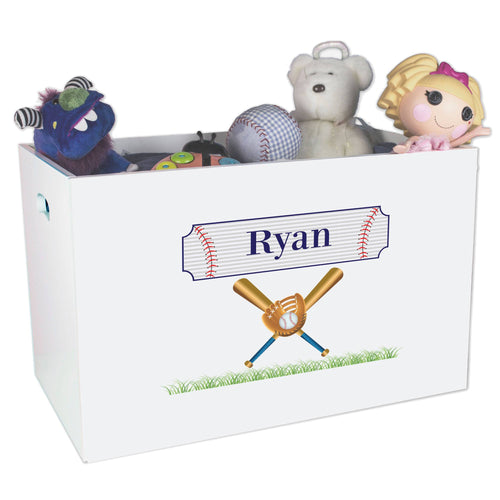 Open White Toy Box Bench with Baseball design